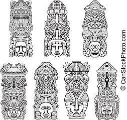 míra, aztécký, totem