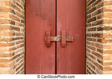móda, dveře, dřevěný, vinobraní, asie, tradiční, lock., latch., červeň