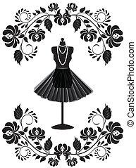 móda, konstrukce, náhrdelník, manekýnka, květinový, lem, karta