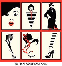 Módní žena, bota a nohy v módě, popu