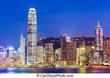 město, hong, chovat, kong, městská silueta, mrakodrap, večer, viktorie
