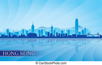 město, hong, silueta, kong, městská silueta, grafické pozadí