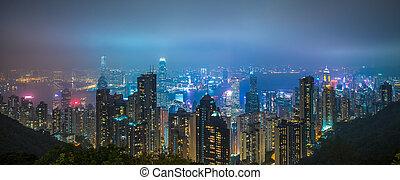 město, hongkong, panoramatický, městská silueta, večer, názor