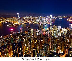 město, hongkong, večer
