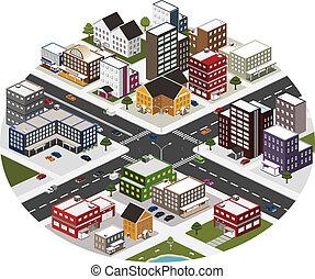 město, isometric, dějiště, big