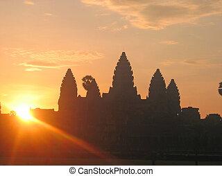 město, khmer, dávný, právě, dostavení se, cambodgia, slunit se, chrám, císařský, východ slunce, angkor, káď