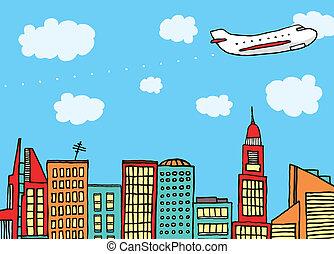 město, let, přes, hoblík