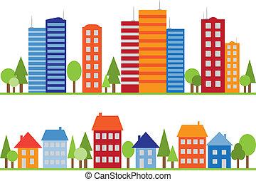 město, město, model, seamless, vesnice, nebo