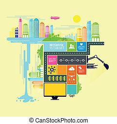 město, město, vektor, ilustrace
