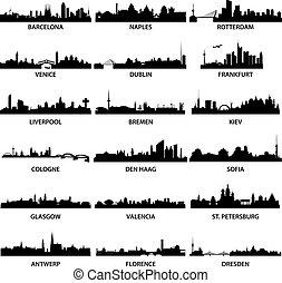 město, městské siluety, evropský