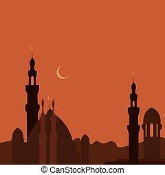 město, podoba, mešita, ramadan., východ, sunset.