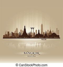 město, silueta, bangkok, městská silueta, vektor, thajsko