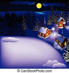 město, sněžný, kopec, večer, krajina, názor