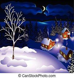 město, winter vyvýšenina, večer, krajina, názor