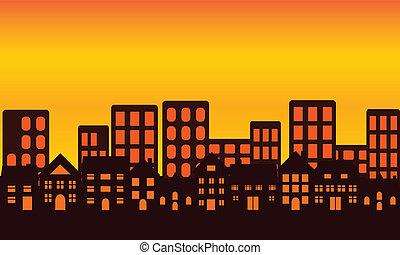 Městská obloha při západu slunce