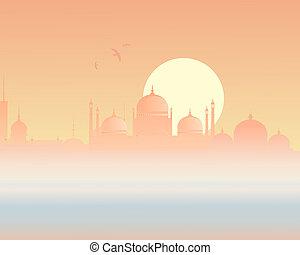 městská silueta, asijský