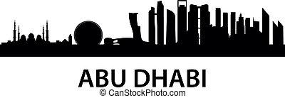 městská silueta, dhabi, abu