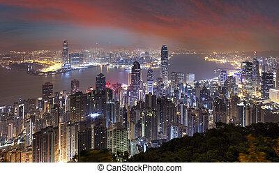 městská silueta, kong, viktorie, večer, hong, vrchol