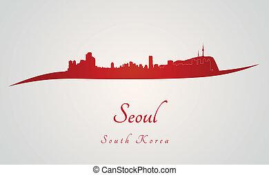 městská silueta, seoul, červeň