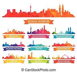 městská silueta, velkoměsto, asijský, barvitý