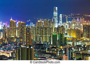 městský, hong, město, kong