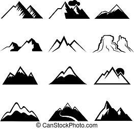 Městský horský vektor ikonů