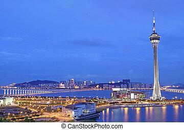 městský, macau, macao, nebe, slavný, cestování, pod, věž, řeka krajinomalba, asia.