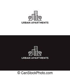 městský, neposkvrněný, byt, čerň, emblém