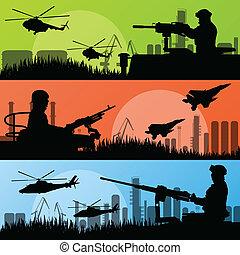 městský, průmyslový deportace, vojáci, vojsko, továrna, ilustrace, vektor, vrtulník, grafické pozadí, hoblík, rozprašovač, krajina
