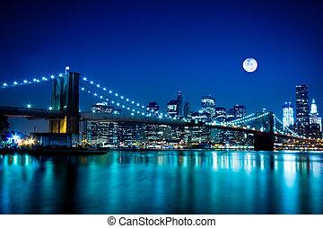 můstek, brooklyn, město, york, čerstvý