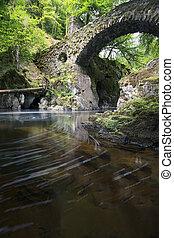 můstek, poustevna, perthshire, skotsko, dlouho, skrz, plynulý, řeka, odhalení