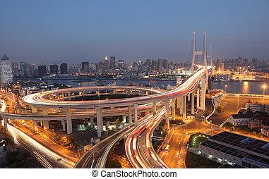 můstek, shanghai, čína, night., nanpu