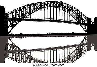 můstek, silueta, sydney harbour