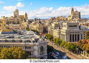 Madridské město a letecký pohled na babičku přes ulici