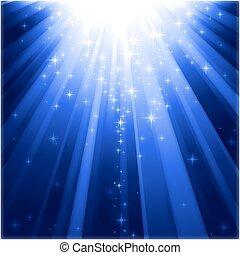 Magické hvězdy sestupují na paprsky světla