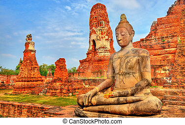mahathat, sad, historický, thajsko, wat, ayutthaya
