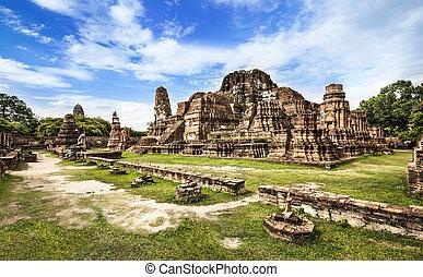 mahathat, (temple), společnost, thailand., unesco, heritag, ayutthaya, wat