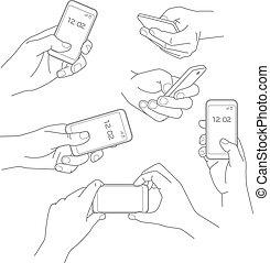 majetek, smartphone, vektor, osvětlení, rukopis