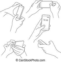 majetek, smartphone, vektor, skica, osvětlení, rukopis