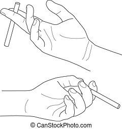 majetek, vektor, cigareta, ilustrace, rukopis