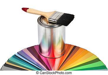 Malí kartáček a barevné vzorky