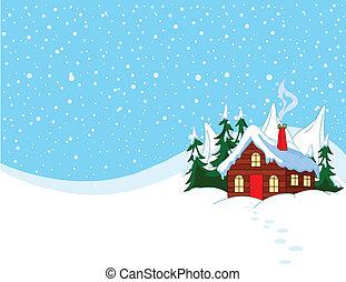 Malý dům ve sněhových horách