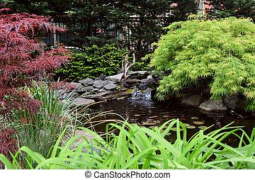 Malý jezírek v jeffersonově zahradě, New York