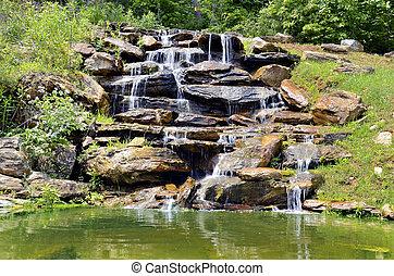 malý, rybník, vodopád