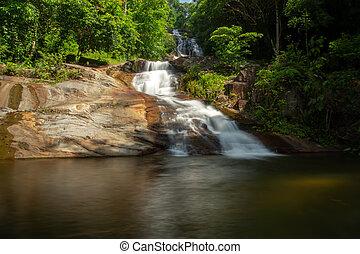 malý, vodopád, les