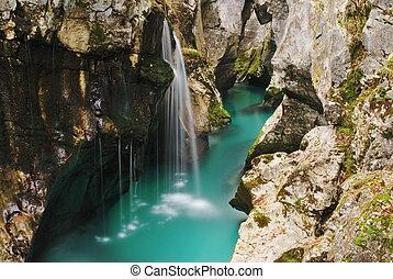 malý, vodopád, skalnatý, sloj, řeka