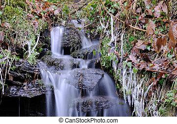 malý, vodopád, zima krajinomalba