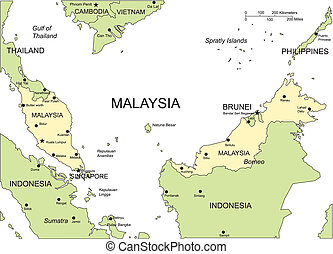 Malajsie, hlavní města, velkoměsta a okolní země