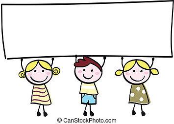 maličký, majetek, prapor, šťastný, neobsazený, šikovný, -, sluha, sluka, čistý, karikatura, illustration.