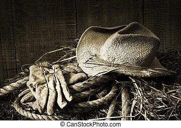 maličkost, seno pohroma, rukavice, klobouk
